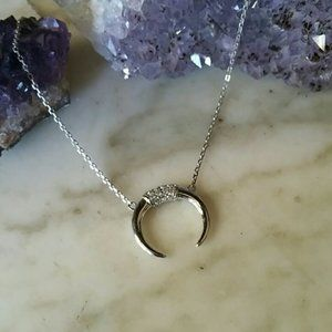 NWOT Sterling Silver Cz Crescent Horn Necklace